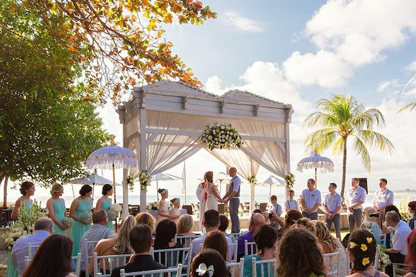 guests at bali wedding beach